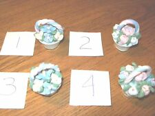 Set of 4 Miniature Ceramic White Baskets with Spring Colored Handle & Flowers #1