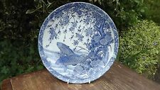 Super old Oriental large bowl with blue & white Fish design No marks to reverse