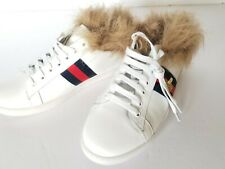 New Authentic Gucci Ace Bee Web Fur Women's  Shoe Sneakers Trainers 37.5
