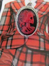 Handmade RED LADY'S SKULL CAMEO IN A SLEEK SILVER  RING sz 7.75 FREE US SHIPPING