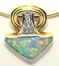 Solid Semi Black Opal & Diamond Vintage Hand Made Pendant 18ct Yellow Gold