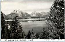 "Grand Teton National Park RPPC Photo Postcard ""MT MORAN & JACKSON LAKE"" 1940s"