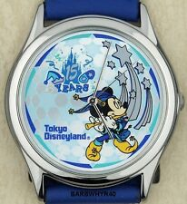 Mickey Mouse Watch - Blue Jester 15 Year Tokyo Disneyland Disney in Tin