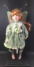 "Porcelain Fairy Doll 2001 Ael 15"" Red Hair Green Eyes & Flower Petal Dress"