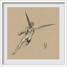 ORIGINAL NUDE MALE ANGEL PORTRAIT FIGURE 10x10 MIXED MEDIA DRAWING