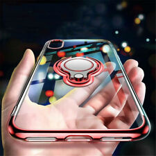 For iPhone 12 11 Pro Max Mini XR 8 Plating Slim Ring Holder TPU Clear Case Cover