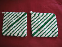 New 2 Matching Hand Crocheted Pot Holder Hot Pads Multi Green White Stripe Thick