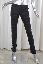 McQ by ALEXANDER McQUEEN Black Cotton Denim Slashed Skinny Slim Jeans 38/2 NEW