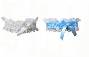 Lace Ribbon Bow Garter With Pearl Bead Various Colours Hen Party Wedding Bridal