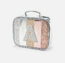 NEW JUSTICE glitter stripe initial lunch box bag A,B,C,D,E,G,H,I,J,L,M,N,O,R,S,T