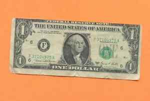 1969 D ERROR CUT BAD ONE DOLLAR BILL BACK PLATE 1561 GOOD CONDITION F37104975A