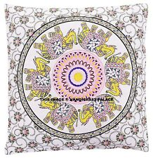 Indian Elephant Mandala Print Pillow Throw Case Round Boho Cushion Cover Case