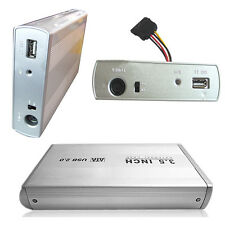 "3.5""  Silver USB 2.0 SATA External HDD HD Hard Drive Cartridge Enclosure Case"