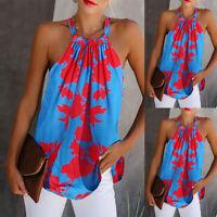 Women's Floral Halter Vest Tank Tops Summer Loose Sleeveless Vest Cami Blouse