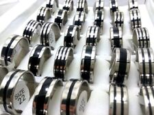 Wholesale 50pcs Black Enamel Stripe Mix Men's Stainless Steel Wedding Band Rings