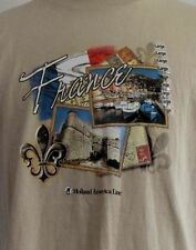 NWT Holland American Line France Cruise Tan Brown T-Shirt L