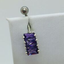 Purple Cz Belly Button Ring 925 Sterling Silver Surgical Steel