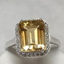 Natural 2.5ct Golden Citrine Accent Stone 925 Sterling Silver Emerald Cut Ring 6