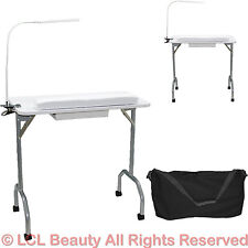 New White Portable Manicure Nail Table Station Desk Salon Spa Beauty Equipment