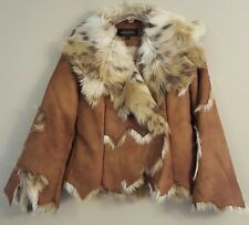NWT FABULOUS FURS Dakota Lynx Faux Fur Jacket SMALL Brown/Cream #16653