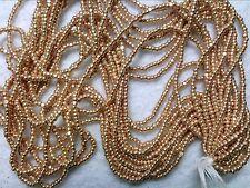 Vtg 1 HANK BRIGHT GOLD GLASS CHARLOTTE TINY BEADS 13/0 CZECH #070112a