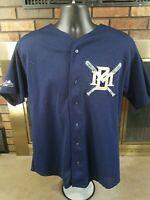 Vintage Milwaukee Brewers Majestic MLB Baseball Jersey Mens Size Large Blue 90s