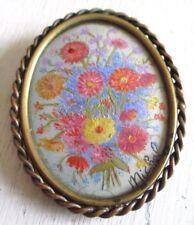 broche ancien bijou vintage couleur or camée floral pastel rose rouge bleu 665