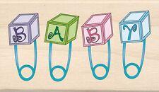Baby Pins Inkadinkado Wood Stamp NEW mounted rubber newborn announcement shower
