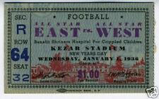 1936 Ticket Stub East vs West Football Game Kezar SF