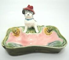 Vintage Majolica Ashtray w Dog in Red Hat Figurine #6830 65 Green Pink Chips