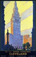 "Vintage Illustrated Travel Poster CANVAS PRINT Cleveland Union Terminal 16""X12"""