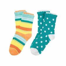 NWT Gymboree Flower & Stripe Socks 2 Pack Size 8 Shoe Size 1 and up Sunny Citrus