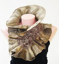 luxury Wool   Silk Scarf Olive Gold with Leopard print