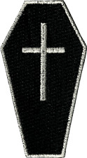 43012 Black Coffin Silver Cross Casket Death Goth Punk Embroidered Iron On Patch