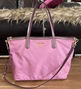 Authentic PRADA Tessuto Saffiano Lavanda Nylon & Leather Shopper Tote Bag 😍