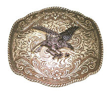 Silver Belt Buckle Western Design Cowboy Eagle