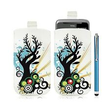 Housse coque étui pochette pour HTC Desire Z avec motif HF03 + Stylet luxe