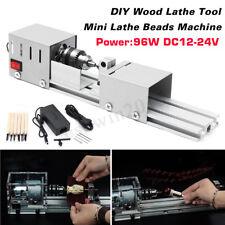 96w Mini Lathe Beads Machine Wood Table Drill Saw Woodworking Tool W/ 6 Chisel