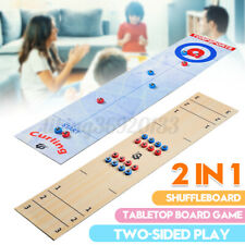 2 in 1 Foldable 91cm Shuffleboard Curling Table Top Board Kids Game + 16