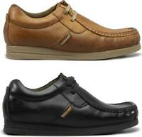 Base London STORM Mens Leather Lace-Up Moccasin Casual Pub Shoes Tan/Black