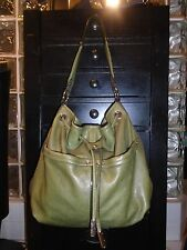 Designer B. MAKOWSKY Green Leather Hobo Tote Shoulder Bag Handbag Purse