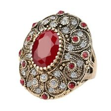 Women Turkish Ring Red Ruby Ottoman Jewelry White Crystal Handmade Gold Plated 8