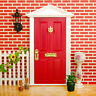 1:12 Dollhouse Miniature Luxury Wooden Red Exterior Door 4 Panel with Key