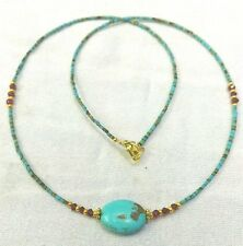 Afghan Natural Turquoise Tiny Seed Beads Necklace with Garnet & Gold Plated