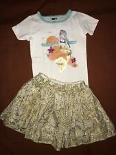 Girl's set Sz 5 Abercrombie Gold Twirly Skirt and Crazy 8 Mermaid Tee Top