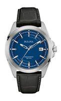 Bulova Precisionist Men's 96B257 Quartz Blue Dial Black Leather Strap 43mm Watch