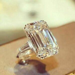 3.50 ct emerald excellent cut diamond Engagement ring Silver VVS1/D Valentine's