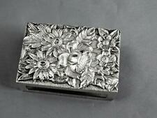Vintage S. Kirk Sterling Silver Floral Repousse Match Box Holder Rose