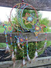 Hand Made Large Rainbow Hemp Star Moon Dream Catcher Dreamcatcher Wall Hanging