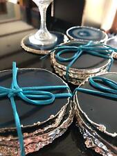 Teal Agate Silver Edge, Gilded, Quartz Premium Coasters (set of 4)